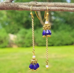 Crystal Glass Beaded Chain Earrings - Navy Blue