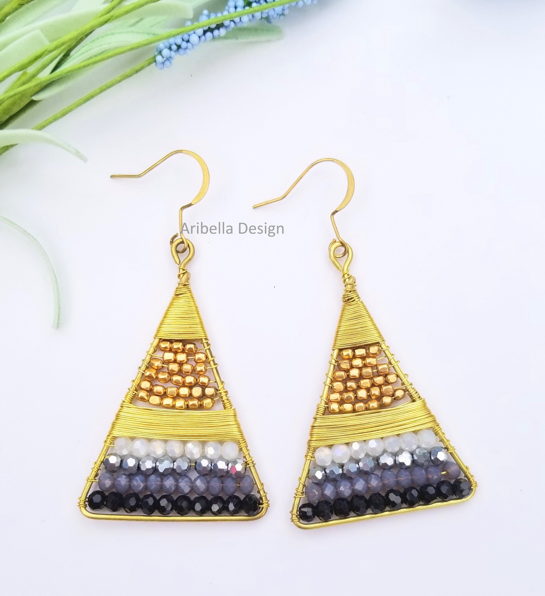 Triangle Wire Wrapped Beaded Earrings - Gold Black
