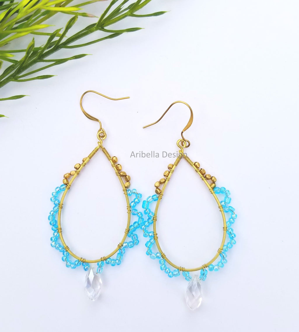 Teardrop Beaded Hoop Earrings - Blue