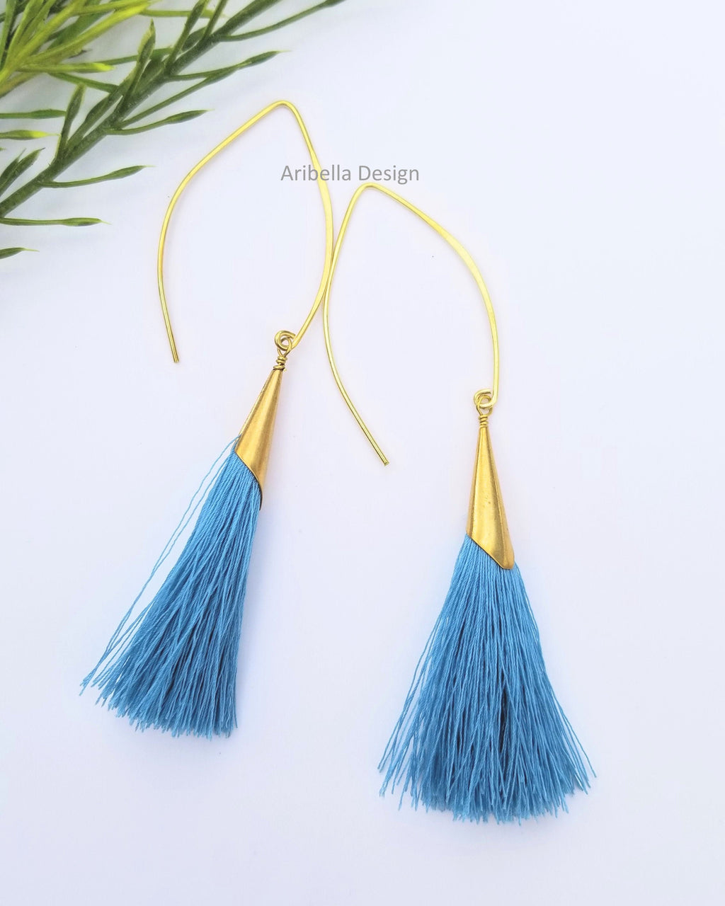 Oval Hoop Tassel Earrings - Blue