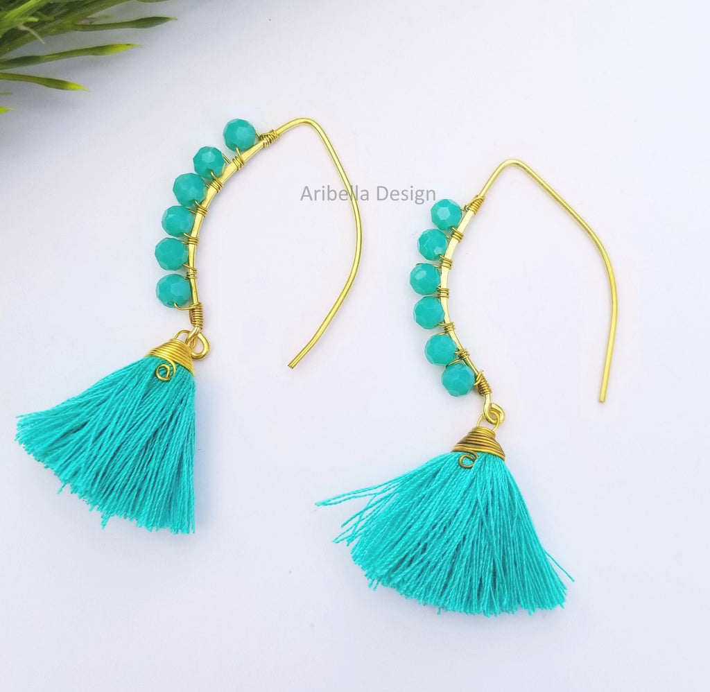 Oval Hoop Beaded Tassel Earrings - Teal