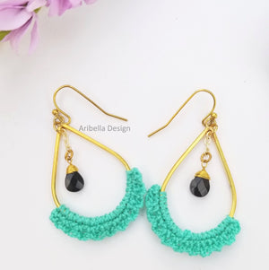 Teardrop Crochet Earrings - Tourquoise Teal