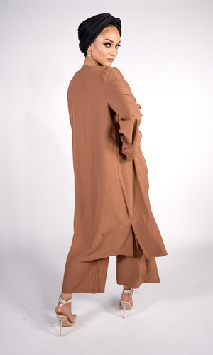 3 PIECE CULOTTE & DUSTER CO-ORD SET - TAN