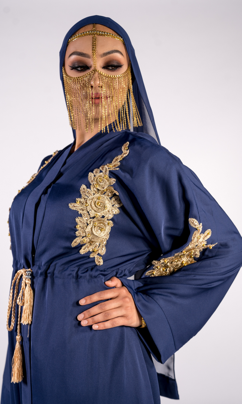 Sheikha Embellished Jacket - Navy Blue