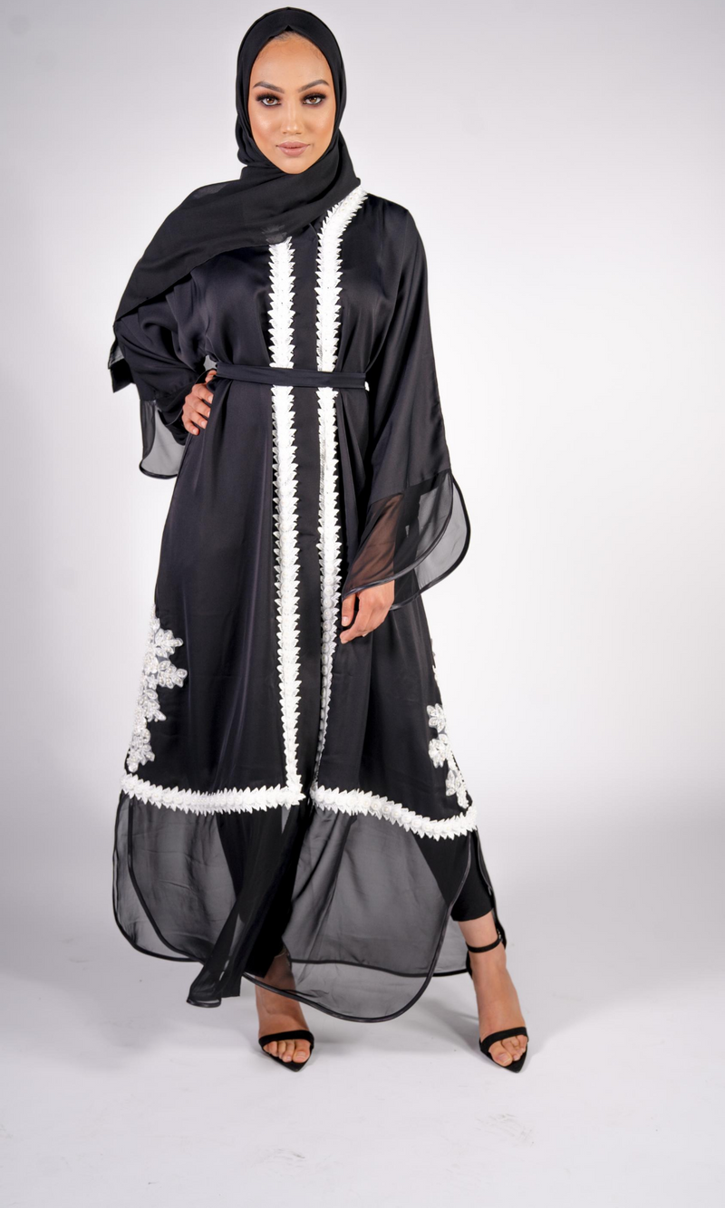 HUDA BLACK AND WHITE CHIFFON ABAYA