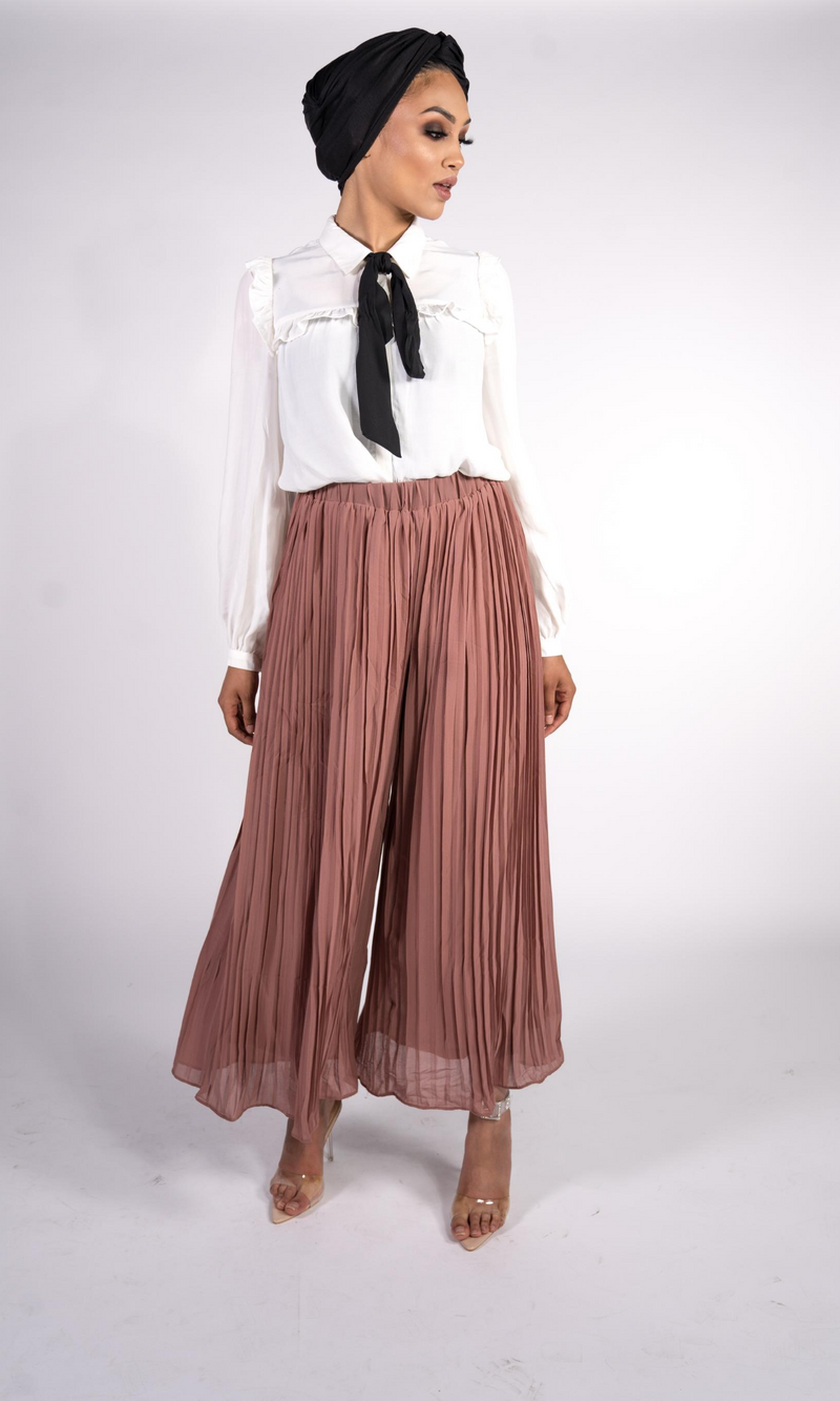PLEATED PALAZZO TROUSERS - NUDE