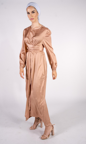 Luxe Nude Wrap Satin Dress