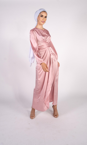 Luxe Pink Wrap Satin Dress