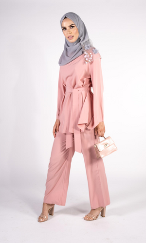 DUSTY PINK WIDE LEG TROUSER CO-ORD