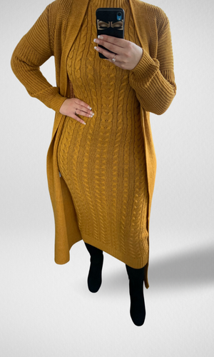 Knitted Co-ord Set- Mustard