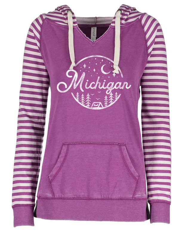 Night Sky - Ladies' Striped Hoodie