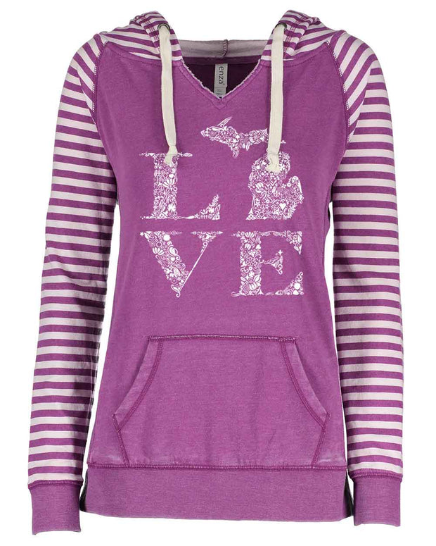 Love Floral - Ladies' Striped Hoodie