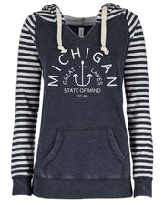 State of Mind - Ladies' Striped Hoodie
