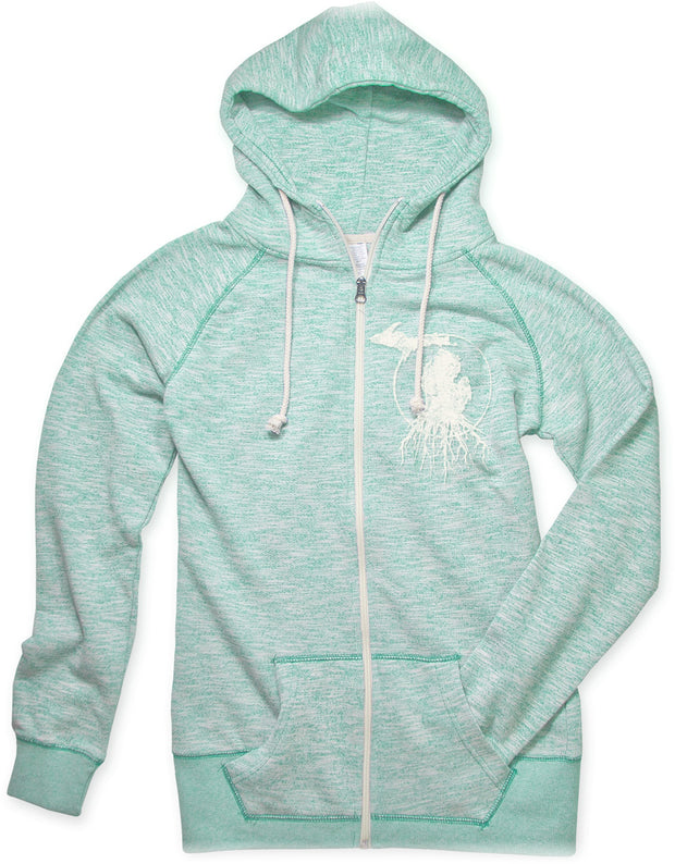 MI Roots - Ladies' Funnel Neck Zip-Up Hoodie