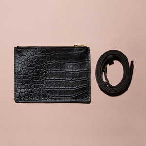 Croc Pattern Flat Belt Bag