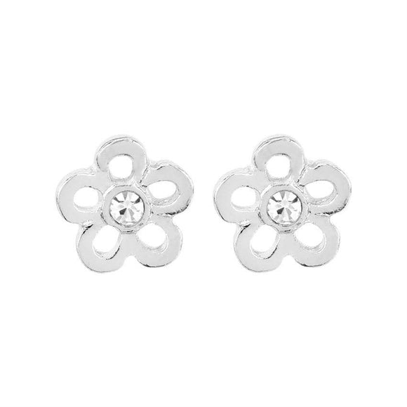 Whispers - Silver Daisy with Stone Earrings