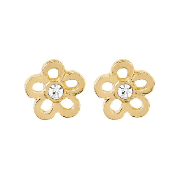 Whispers - Gold Daisy with Stone Earrings