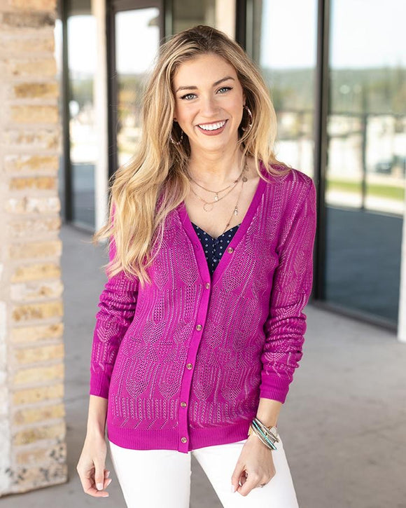 Double knit pointelle cardi