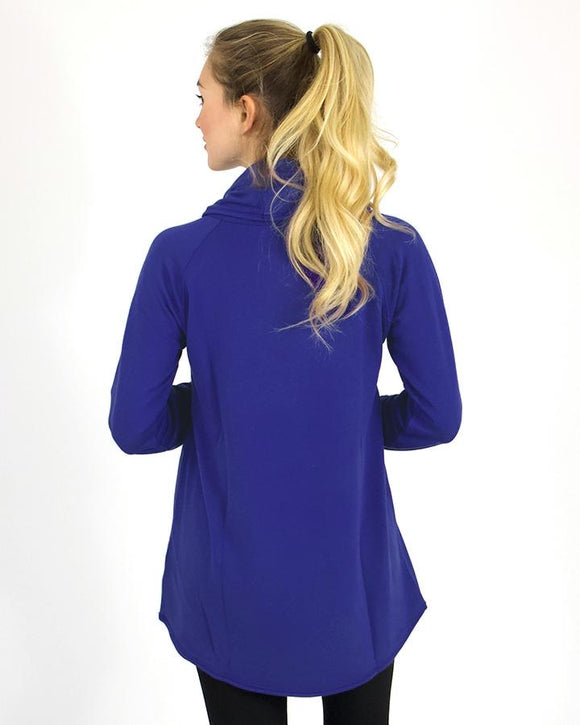 Ultra soft cowl neck tunic in vivid violet