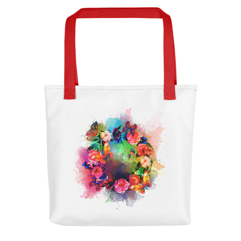 Artsy tote bag: Butterfly Wreath art print, red handles