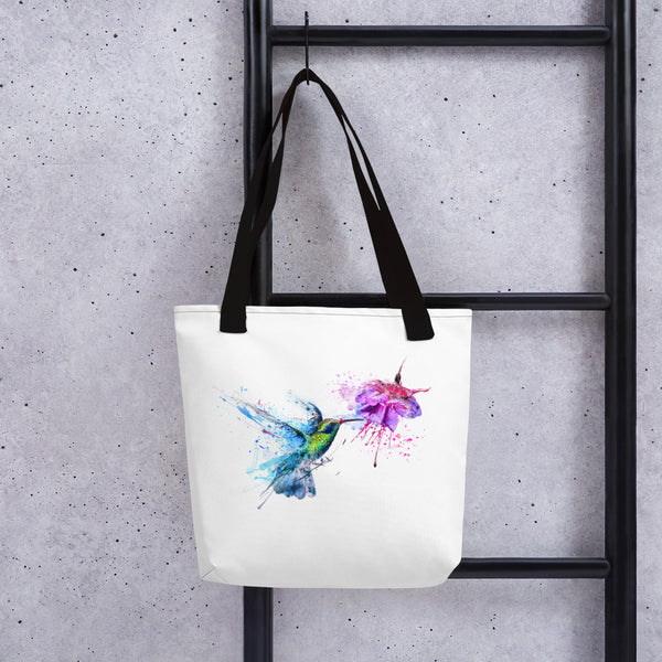 Artsy tote bag: Hummingbird art print lifestyle photo