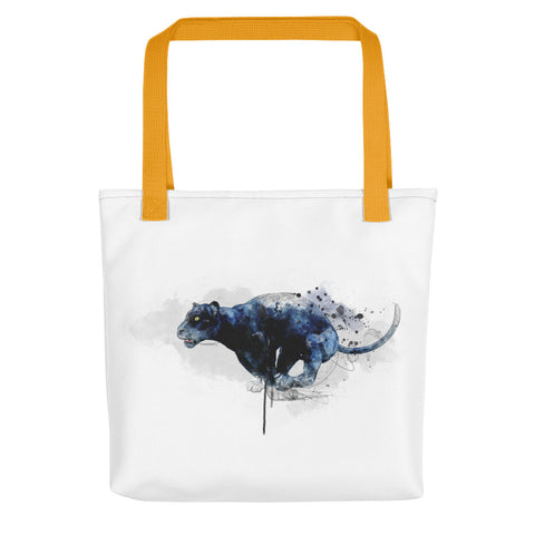 Artsy tote bag: Leaping Panther 2 art print, yellow handles