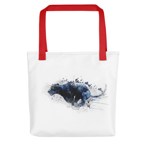 Artsy tote bag: Leaping Panther art print, red handles