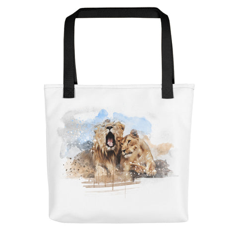 Artsy tote bag: Lion Couple art print, black handles