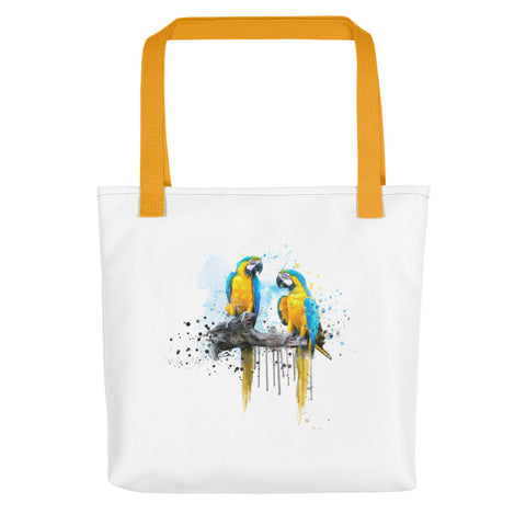 Artsy tote bag: Macaw Couple art print, yellow handles