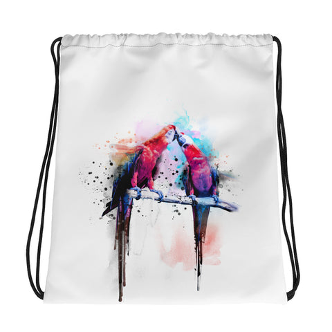 Drawstring gym bag: Macaws Kissing