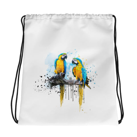 Drawstring gym bag: Macaw Couple