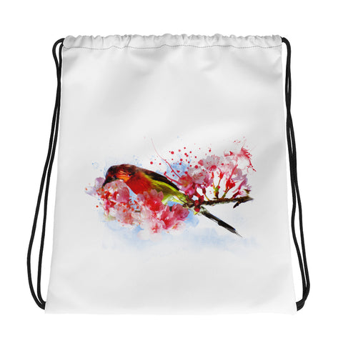 Drawstring gym bag: Bird on Cherry Tree