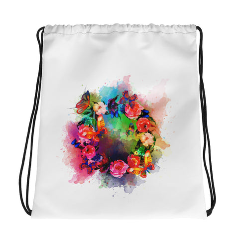 Drawstring gym bag: Butterfly Wreath