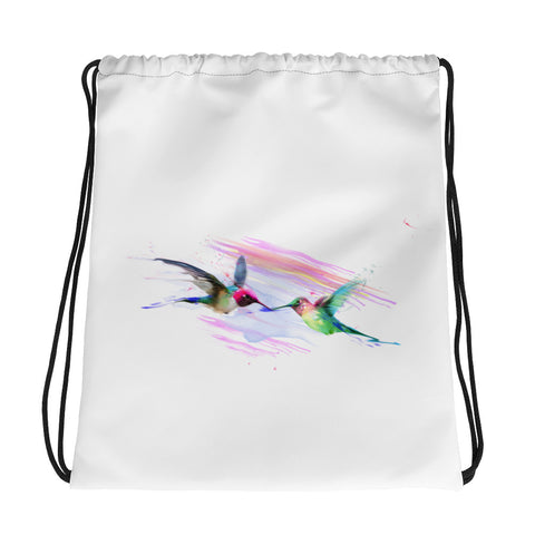 Drawstring gym bag: hummingbird kiss