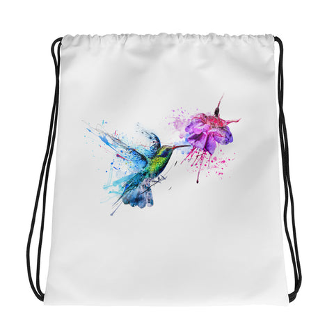 Drawstring gym bag: hummingbird