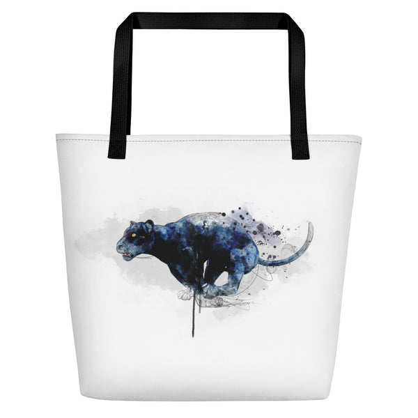 Leaping panther beach bag black handles