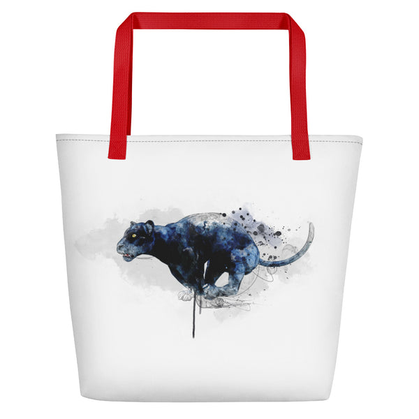 Leaping panther beach bag red handles