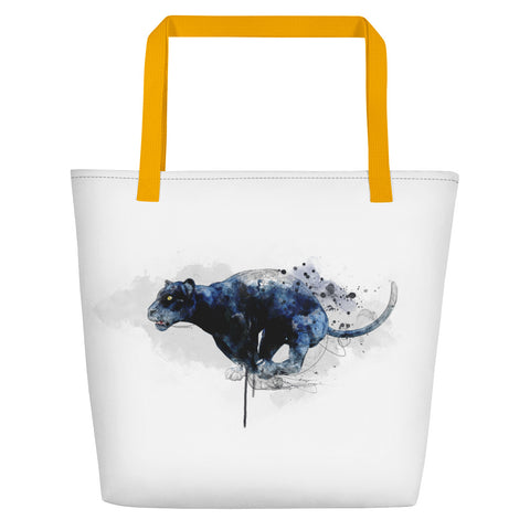 Leaping panther beach bag yellow handles
