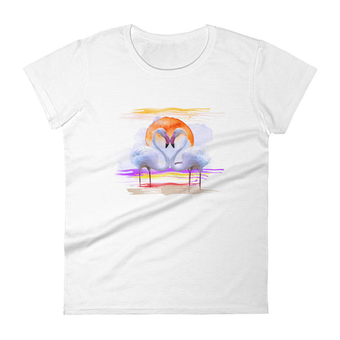 Women's fitted t-shirt flamingo heart white