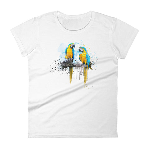 Women's fitted t-shirt macaw couple white
