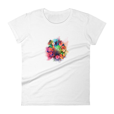 Butterfly Wreath Women's Fitted T-shirt