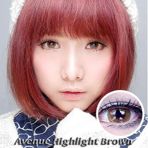COLORED CONTACTS AVENUE HIGHLIGHT BROWN - Lens Beauty Queen