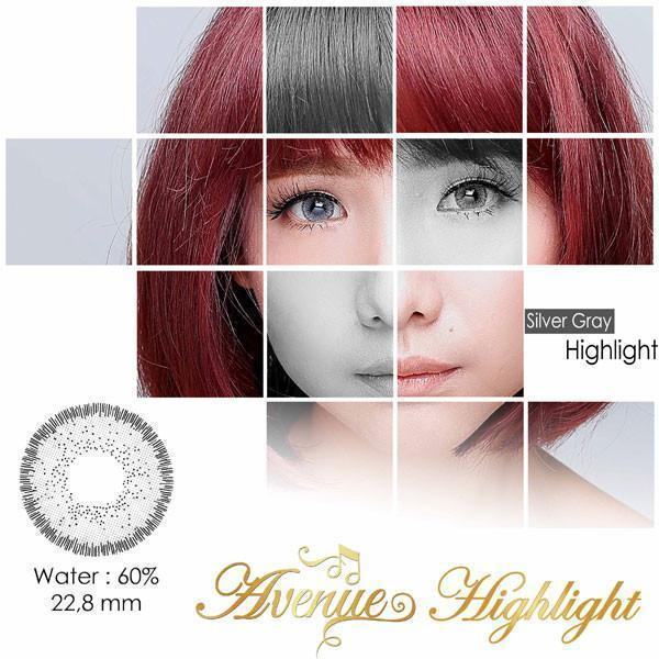COLORED CONTACTS AVENUE HIGHLIGHT GRAY - Lens Beauty Queen