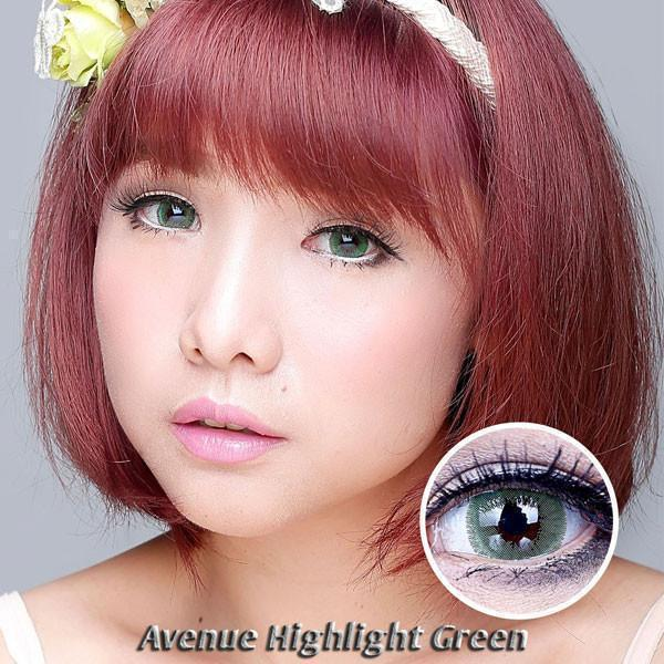 COLORED CONTACTS AVENUE HIGHLIGHT GREEN - Lens Beauty Queen