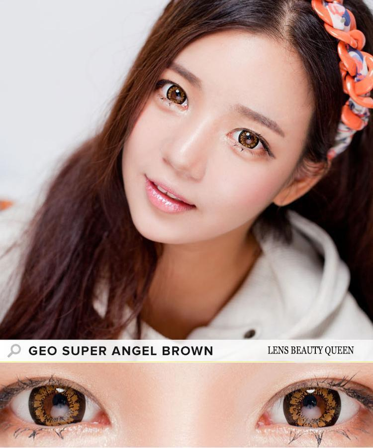 BROWN CONTACTS - COLORED CONTACTS GEO SUPER ANGEL BROWN - Lens Beauty Queen