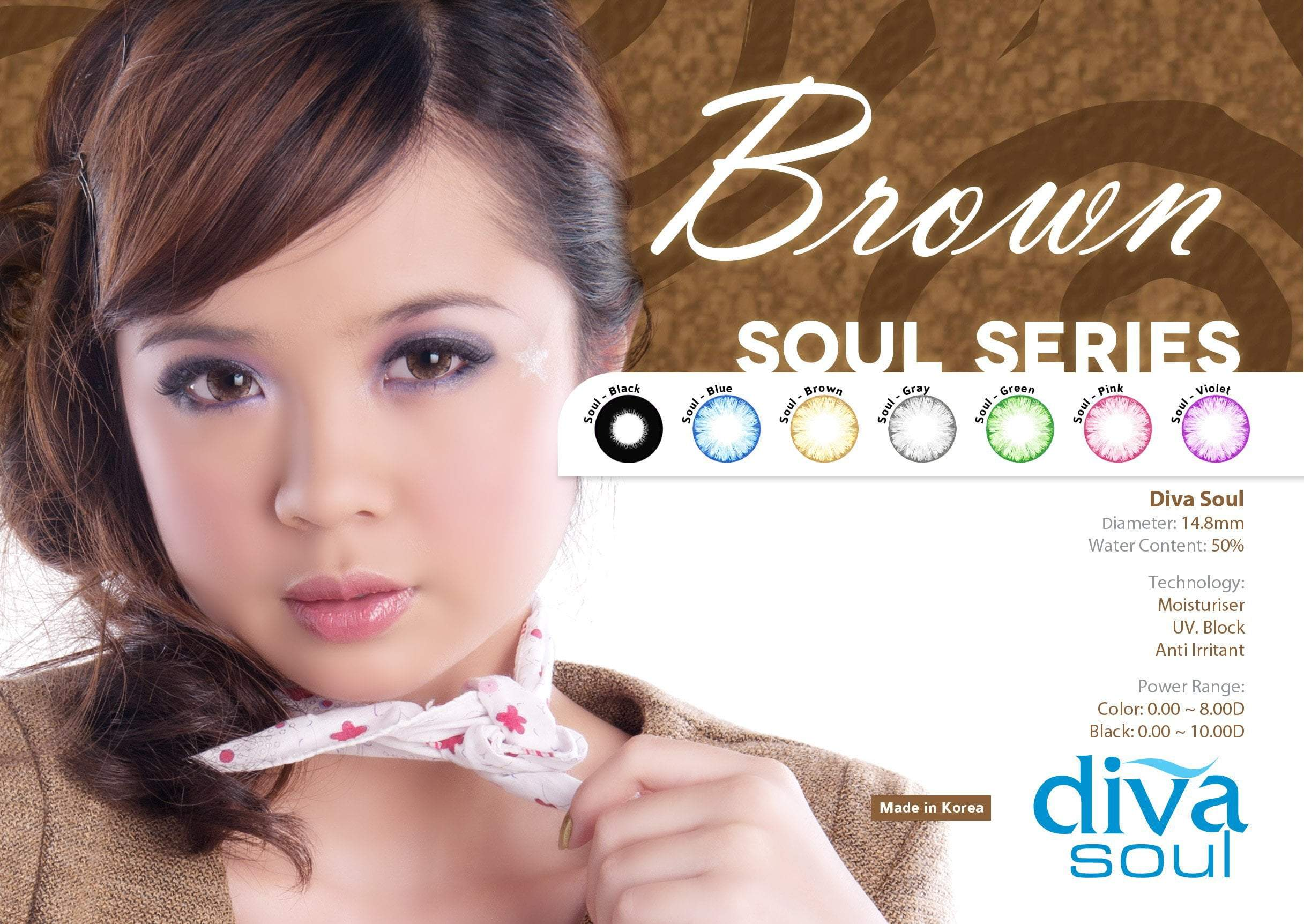COLORED CONTACTS DIVA SOUL BROWN - Lens Beauty Queen
