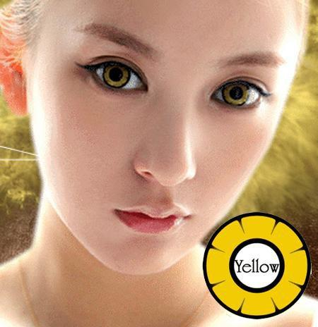 COLORED CONTACTS DOLLY EYE TWILIGHT YELLOW - Lens Beauty Queen