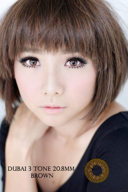 COLORED CONTACTS DUBAI 3TONES BROWN - Lens Beauty Queen