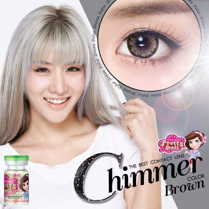 COLORED CONTACTS PRETTY DOLL CHIMMER BROWN - Lens Beauty Queen