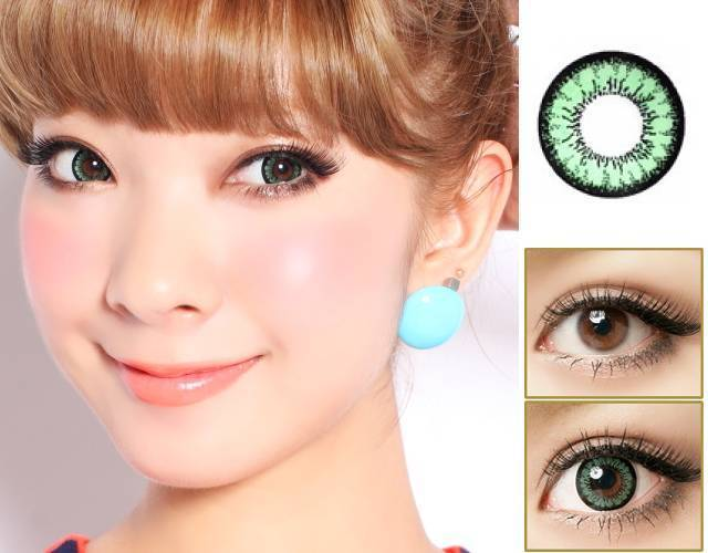 GREEN CONTACTS - COLORED CONTACTS GEO SUPER ANGEL GREEN - Lens Beauty Queen